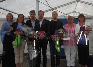Bergs kommun genom Elise Ryder-Wikén och Karin Paulsson hyllade de fem olympiamedaljörerna.