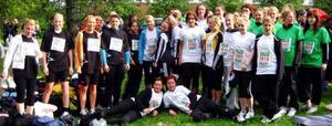 Elever och lärare från John Bauer, Vittra och Östersunds Gymnasieskola har sprungit Vårruset i Sundsvall. Foto: Privat