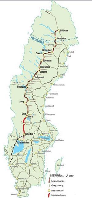 Kartan visar att det är en avsevärd sträcka som Orsakalken ska transporteras.