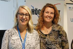 Arbetsförmedlarna Lina Westerberg och Stina Mineur var på plats för att hitta matchningar mellan ungdomar och företagen.