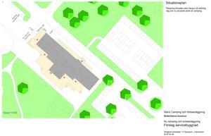 Den grå delen är den tilltänkta nya servicebyggnaden, på den plats där receptionen är i dag.