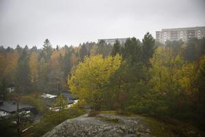 Kommunen har planer på att bygga i skogsområdet mellan höghusen i Fornbacken/Fornhöjden, som skymtar i bildens övre högra hörn, samt villorna på Kummelvägen i Östertälje, som skymtar i bildens nedre vänstra hörn.