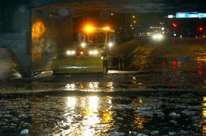 Även på vintern blir det översvämning i stadens svacka. Bilden är från den åttonde januari 2005.