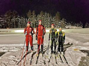 Några av åkarna i Sundsvall Biathlons ungdomsgrupp. De tränar på Skönviksberget där en bra skjutvall finns.