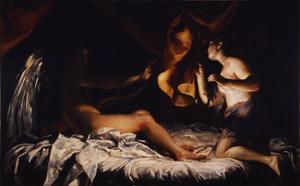 Psyche avslöjar och skrämmer den vackra Amor. Oljemålning av Giuseppe Crespi  från 1707.