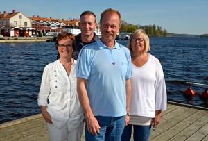 Nygammal laguppställning. Från vänster Siv Ahlstrand, Ronny Larsson, Per Eriksson och Inger Larsson. Foto: Privat.