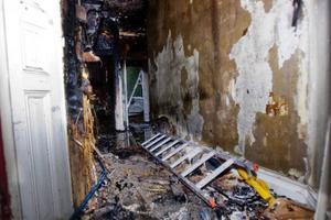 En del av lokalerna på tredje våningen som genomgående har fått svåra skador.