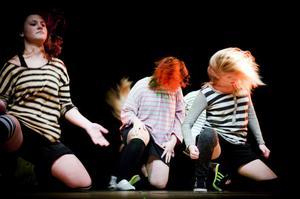 Djungelboken kan tolkas på många sätt, det visade barnen och ungdomarna som deltagit i Studieförbundet Vuxenskolans dansgrupper Här Matilda Gustafsson, Ellen Rijkens och Felicia Sjögren in en inlevelsefull scen.