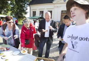 PROVSMAKNING. Siv Persson från Ockelbokyckling ser till att juryn får sina smakportioner. Här syns jurymedlemmarna Christer Johansson från Ica Maxi och Soo-Kil Söderlund  från Svensk Cater bredvid Peter Ågren, tävlingsledare för Gästrikland Matverk 2013.