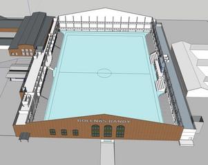En första ritning över hur bandyhallen på SJ-området kan komma att se ut.