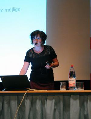 Agneta Wenell, näringslivschef i Ockelbo poängterade att det följt många positiva effekter av vindkraftssatsningarna i hennes hemkommun.
