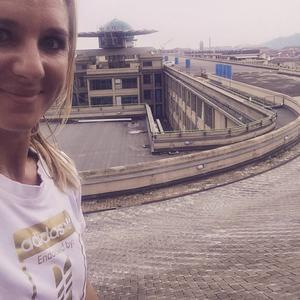 Coolaste löparbanan någonsin! Testbanan på taket på Fiats gamla fabrik i Turin. Känd från filmen The Italian Job. Helt ensam, som att springa på molnen.