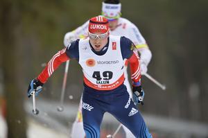 Rysslands Alexander Legkov under herrarnas 15 kilometer vid skid-VM i Falun 2015.