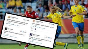 Flera personer på Twitter hånar damlandslaget med sexistiska och hatfulla kommentarer