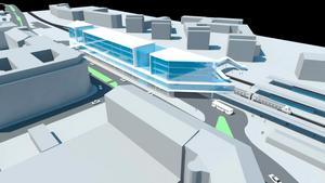 Framtidens Resecentrum? I idéskissen är de första våningarna för trafiken och den översta för kommersiell service. Det byggs över dagens öppna busshållsplats. Centralstationen ligger till höger i bild. Här ska även kopplingen till centrum förstärkas. Jonas Karlsson (S) tror det är möjligt att få det klart till 2014.
