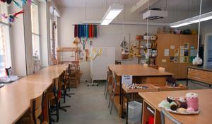 Slöjdsalen i skolan. 2015 var den nära på att bli en ordinarie skolsal för att lösa situationen med för få lokaler.