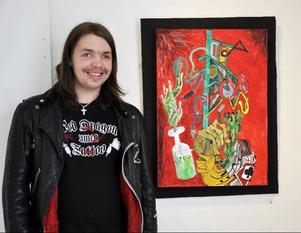 Alex Lindahl deltar med en surrealistisk målning.