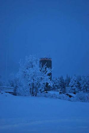 Vinterfint vattentorn i Krokom inskickat av Angelica Näsvall.