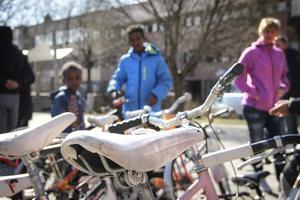 Ett hundratal cyklar av olika märken, ålder och storlekar fanns att välja mellan.