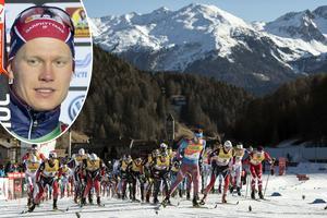 Axel Ekström infälld (och långt, långt bak i den stora klungan). Seedad som nummer 63 i distansloppet över tio kilometer fick han stå i 13:e led i starten eftersom banan i Val Müstair bara var fem spår bred.