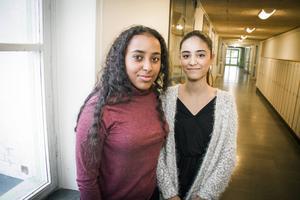 Shewit Mulugeta, 16 år, och Melak Sharrad, 16 år är elever på Murgårdsskolan och tycker att det är bra med en åldersgräns.