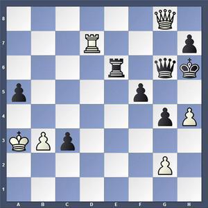 Vad spelade vit?   Lösning: 1.Txh7+ Dxh7 2.Dg5 matt.