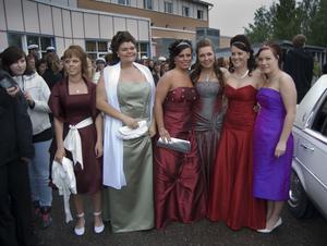 Frida Sollander, Delsbo, Angelica Andersson, Sandviken, Malin Persson, Sandviken, Emelie Strömgren, Iggesund, Jonsefina Dahlström, Matfors och Angelica Brand kom tillsammans i limousine.