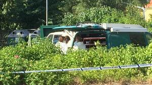 Polisen spärrade av delar av återvinningsstationen.