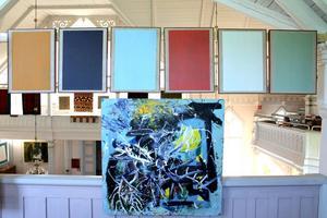 Sex målningar av Paul Fägerskiöld och nedan en målning av Andreas Fägerskiöld.