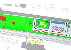 Ett av förslagen är att göra en parkering mellan riksväg 84 och Dellenbanans stationshus. Förslag: Lars Gustavsson