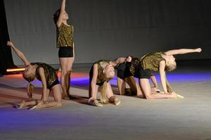Har kul. Klara Sahlén, Maja Svensson, Mayla Nilsson, Maya Ericsson, Tindra Moraglio och Elsa Lindqvist tycker att det är roligt med gymnastiken och har Maja Frödén som ledare.