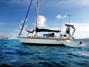 Båten Anna uppankrad i Tobago Cays bland de östkaribiska öarna. Med hängmattan på plats har de ett eget litet paradis ombord.