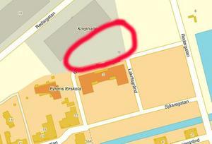 Gävle Strand och fastigheten markerad med rött där parkeringshuset ska uppföras.