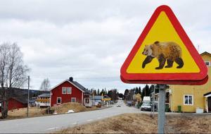 Varningsskylten sätts bara upp när byborna har uppsikt över den.