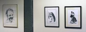 En teckning av spelmannen Pål Olle och stentrycken Drakhäst och Polska