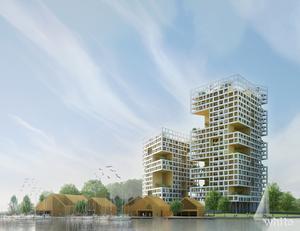 Enligt förslaget från HSB/White Arkitekter byggs hus upp till 30 våningar vid Mälaren, nära Lögarängen.