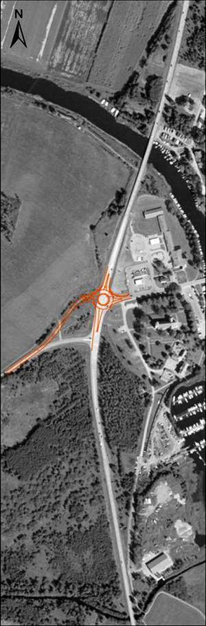 Ombyggnad. Här byggs den nya cirkulationsplatsen. Framkomligheten och säkerheten blir därmed bättre i fyrvägskorsningen utanför Askersund.ILLUSTRATION: TRAFIKVERKET