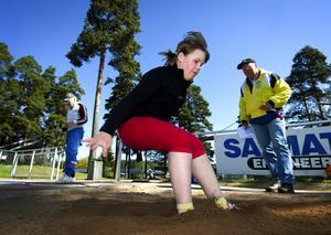 Hoppfull. Vi ska vinna, menade Emma Tibbling-Lingwall från Skräddarbacksskolan efter ett fint resultat i längdhopp.