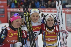 Top-tre i damfinalen, Maiken Kaspersen Falla, Stina Nilsson och Heide Weng.
