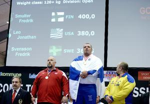 367,5 kilo stannade Fredrik Svensson på. Regerande världsmästaren Jonathan Leo blev nerpetad från tronen av finske Fredrik Smulter som tog alla bänkpressares drömvikt 400 kilo.