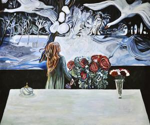 Meta Isaeus-Berlin, målare och installationskonstnär visar måleri i Hällefors kyrka.