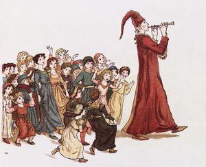 Råttfångaren lurar med sig Hamelns barn som hämnd. Kate Greenways illustartion från 1888.