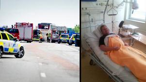 Johan Rydström berättar om olyckan på E20 på måndagen.