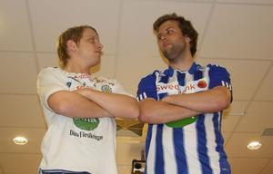SFF:s lagkapten Robin Olofsson och Trönös Erik Hellbom försäker sätta sig i respekt hos varandra inför årets säsong i division 3.