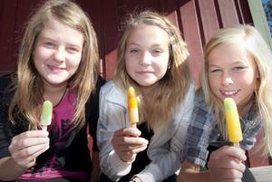 - Vi är störts på skolan!Säger Ebba Lund, Vilma Lund och Frida Forsberg som sitter i solen och äter glass. Första skoldagen som sjätteklassare kändes rolig och inte så värst jobbig tyckte tjejerna.