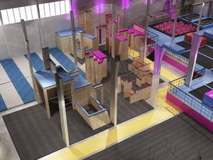 Drakborgen i Birsta byggs om när Freemovr öppnar sina dörrar i april. Så här kommer den nya parkouranläggningen att se ut.