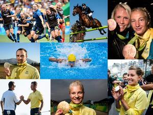 Svenska fotbollslandslaget, Peder Fredricson, Jenny Fransson och Sofia Mattsson, Marcus Svensson, Sarah Sjöström, Henrik Stenson, Jenny Rissveds och Emma Johansson: Sveriges OS-medaljörer från Rio 2016.