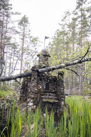 Ute i dammen tronar ett murat slott.