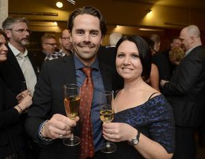 Årets Företagare tog Fredrik Åslund hem och det firade han med att skåla med sin fru Mari.