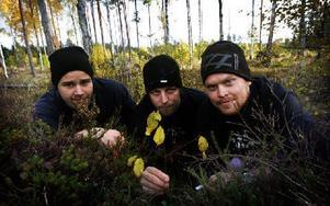 Stora Tuna scoutkårs Erik Erlands, Daniel Fredriksson och Hampus Jaxgård under momentet woodcraft, där scouterna fick samla saker ur skogen och bilda ett ord från begynnelsebokstaven från varje sak. Foto: Staffan Björklund